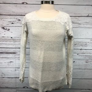 LC Lauren Conrad Runway sweater high-low crochet
